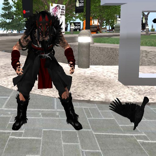 Latzrel Michalak in this awesome raven outfit. The raven in the picture is a part of it.