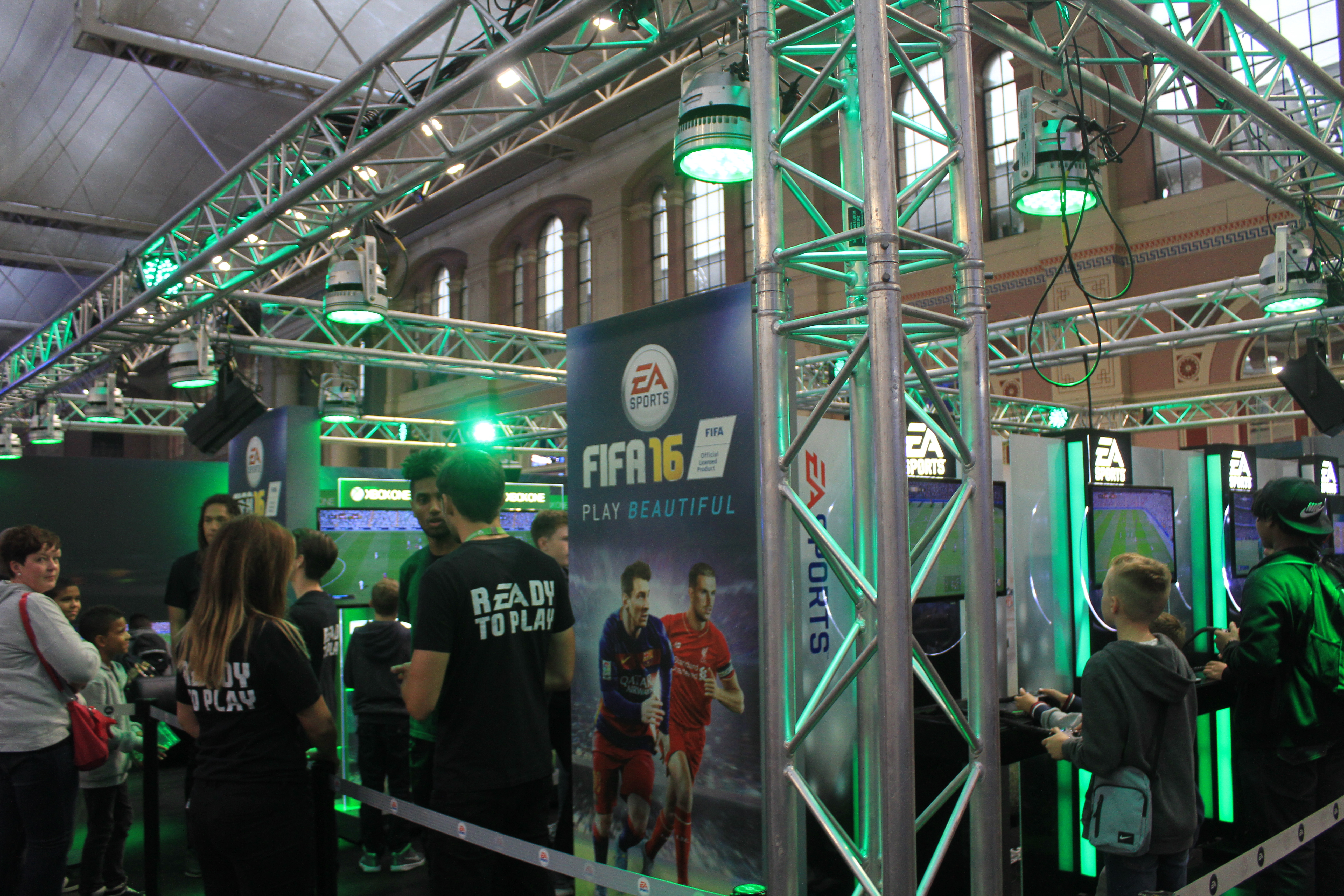 """No matter how had they try. EA's """"FIFA 16"""" booth.  William Morris, 2015 """"Legends of Gaming Live 2015"""""""