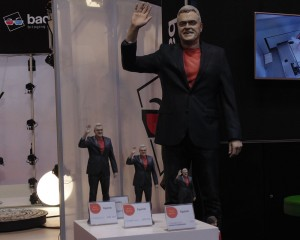 4 3D-printed figurines of Jon Bentley, made by Backface
